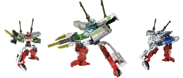 ▲シンカリオンとザイライナーの組み合わせは自由。左右の手足4か所を組み換え、好みのロボットを作ることができる。