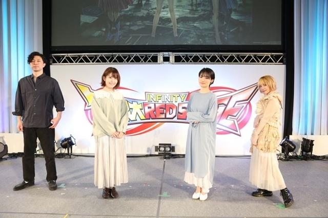 ▲左より岸田メル氏、石見舞菜香さん、千菅春香さん、EXiNAさん