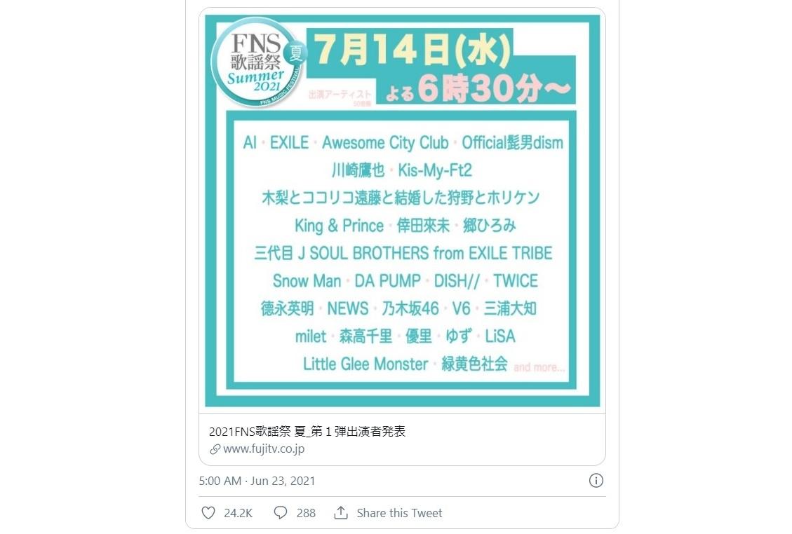 2021 FNS歌謡祭 夏にアーティスト・LiSAが出演決定【7/14放送】